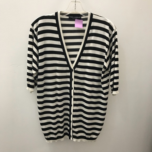 ebdde763e9 Dolce Gabbana Black   White Stripe Cardigan